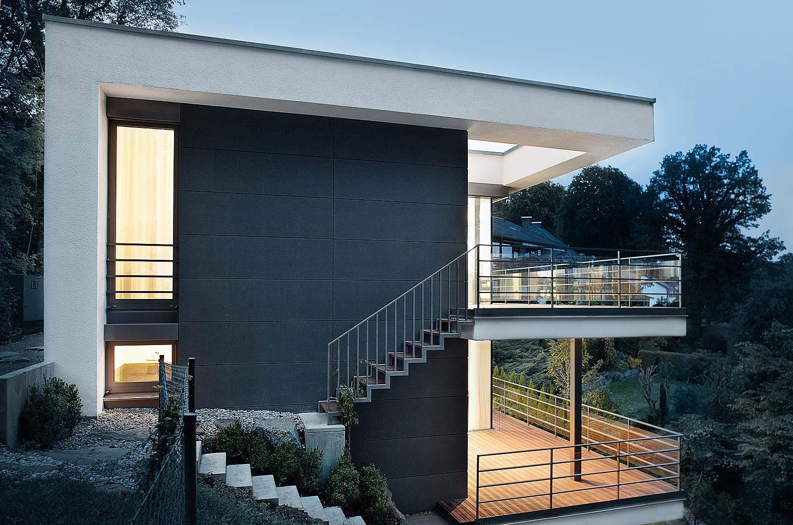 Kutschker&Leischner - Fotos Einfamilienhaus, Architekturfotografie aus München, Foto Abendstimmung Architektur
