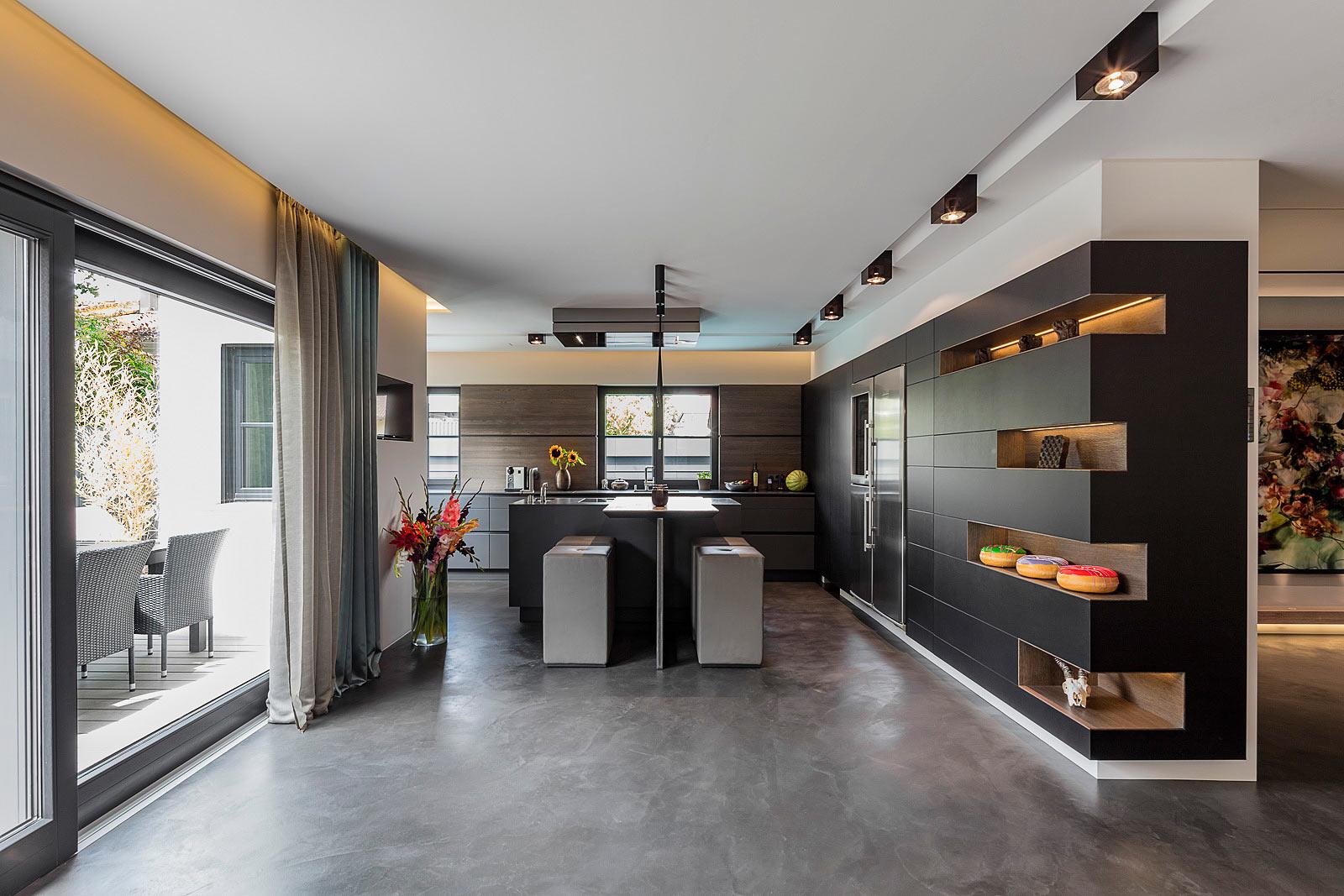 Attraktiv Architekturfotografie Innenraum, Interior, Küche Mit High Eating Berreich,