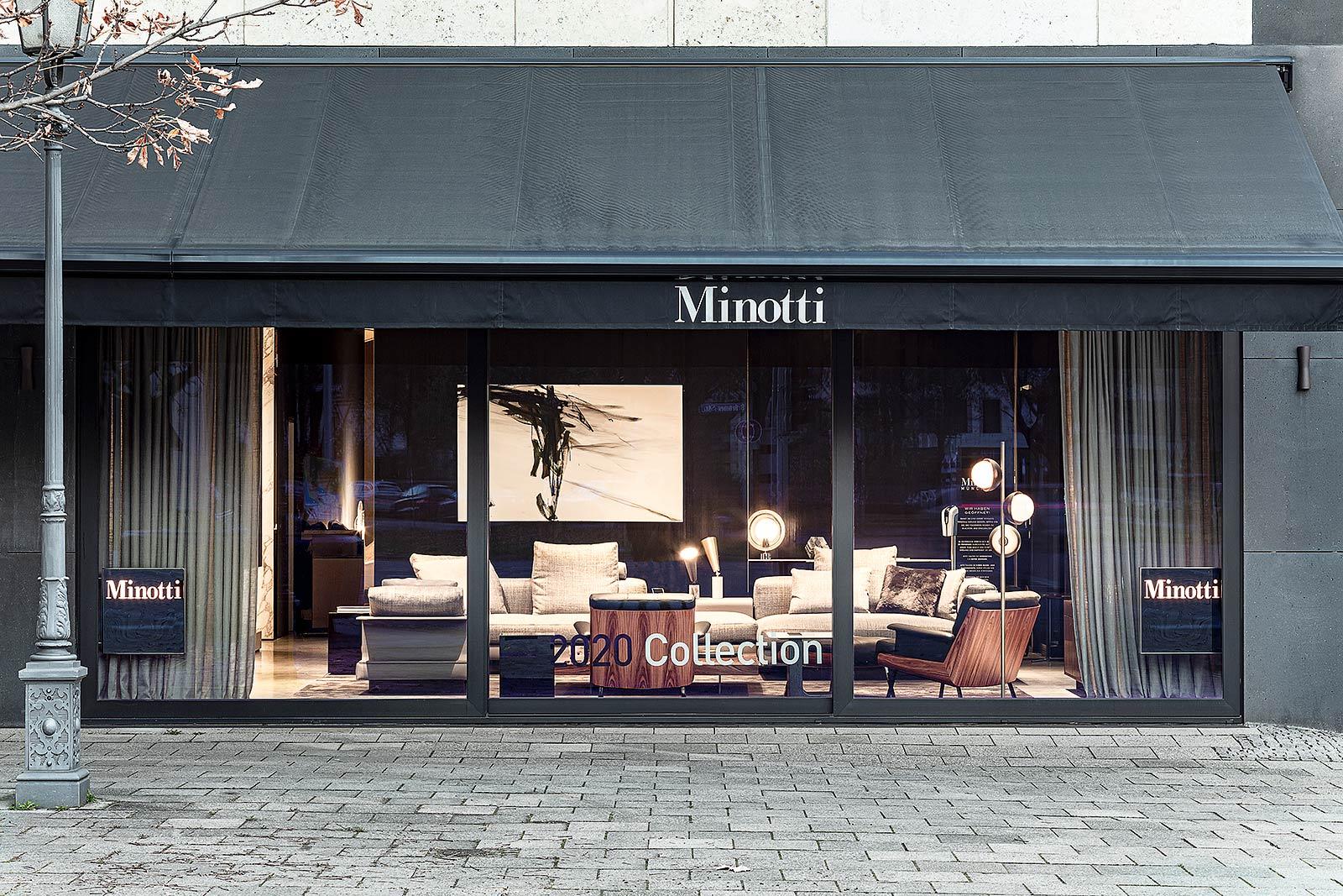 Architektur Aussenaufnahme Fotografie am Abend, Minotti Store in Munich